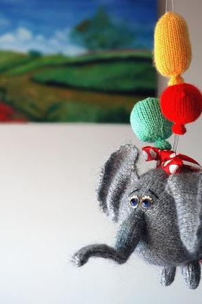 Airy-Fairy Flying elephant with 3 balloons - pdf knitting pattern