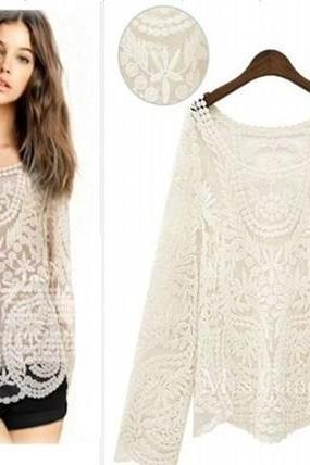 spring new openwork crochet loose solid color long sleeve pullover blouse lace blouse 6868