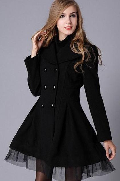High Quality Black Trench Winter Coat for Women-Women Black Coat Winter Lace Coats