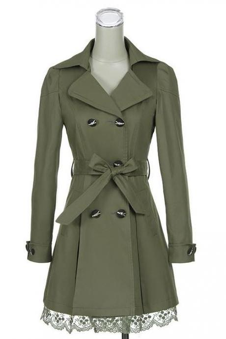 Green Trench Winter Coat for Women-Women Green Coat Winter Lace Coats Polyester Winter Coats