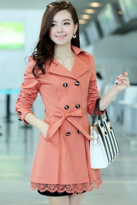 Gorgeous Peach Pink Fashion Trench Winter Coat for Women-Women Peach Coat Winter Lace Coats Polyester Winter Coats