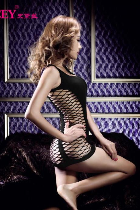 New Black Sexy Lingerie Sleeveless Grid bag hip skirt openwork self-cultivation