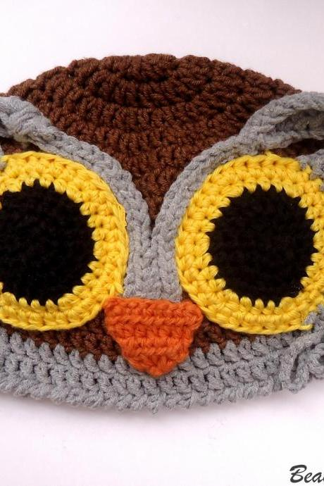 Crochet Pattern Owl Hat, Crochet Baby Hat Pattern Crochet Child Hat Pattern, Owl Crochet Beanie