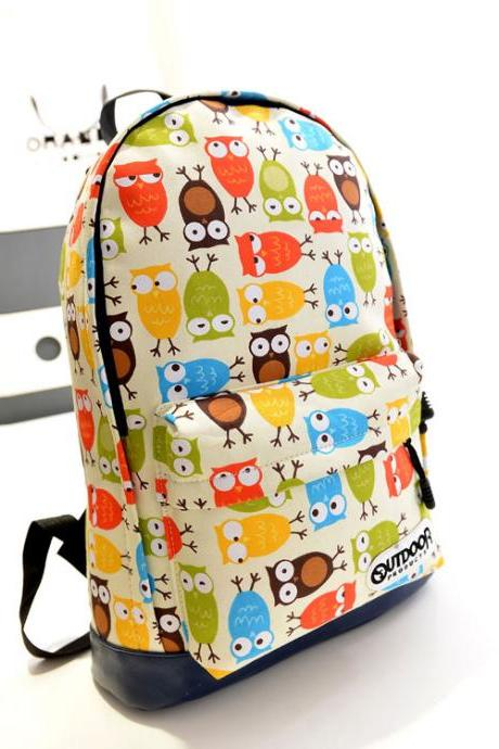 Cute Owl & Leaves Canvas School Backpack