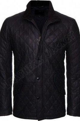 Men's Versatile Black Leather Jacket, Men quilted leather jacket, real leather jacket