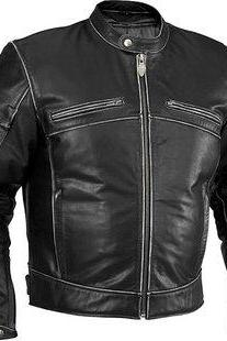 Men black leather jacket, men biker leather jacket, men's distressed black leather jacke