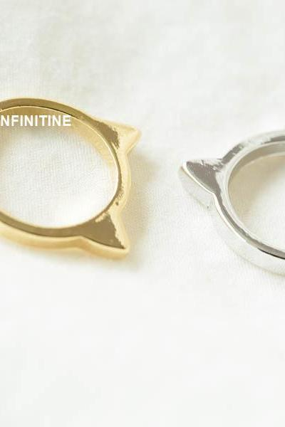Soft simple kitty knuckle ring,RN2529