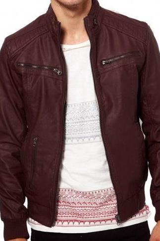 Men maroon-color ban collar bomber biker leather