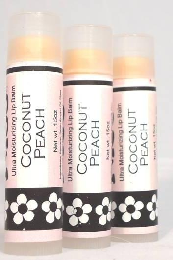 Coconut Peach Lip Balm, Handmade, tropical flavor, moisturizing