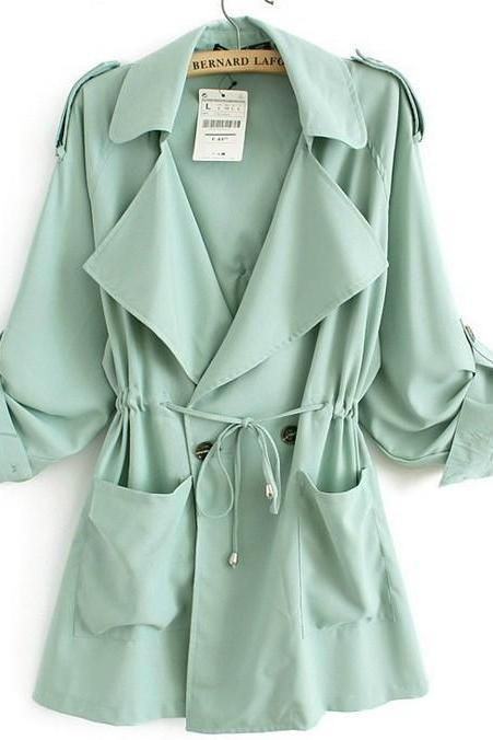 Loose chiffon trench coat