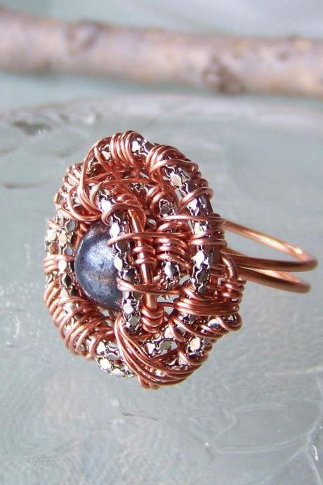 Ring sz 8.5 - Wire Wrapped Copper with Snake Chain and Black Bead