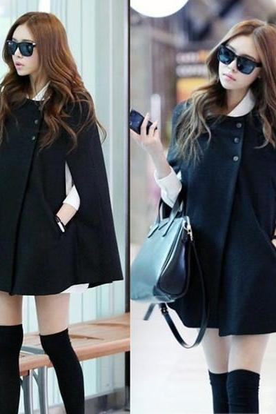 Fashion Womens Black Batwing Cape Wool Poncho Jacket Winter Warm Cloak Coat