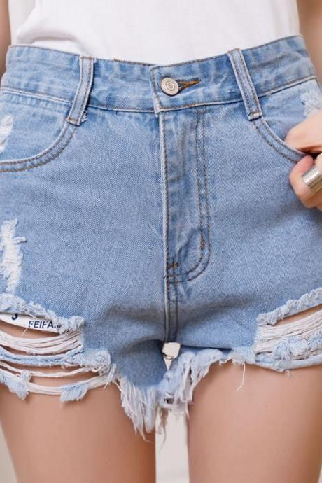 Heavily Distressed and Raw Hem High Rise Denim Shorts