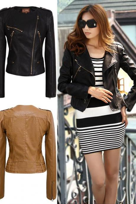 Golden Zipper Collarless Biker Jacket