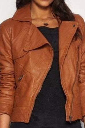 Handmade women brown leather Jacket