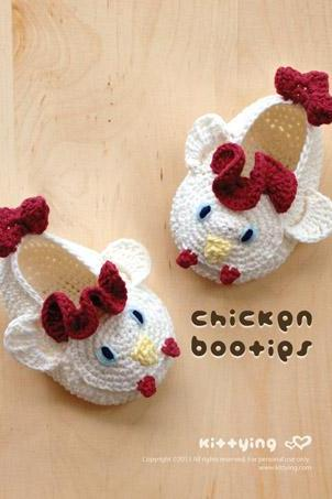 Chicken Rooster Cockerel Cock Baby Booties Crochet PATTERN, PDF - Chart & Written Pattern by kittying