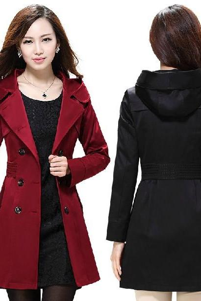 Fitted Waist Double Breasted Hooded Long Trench Coat