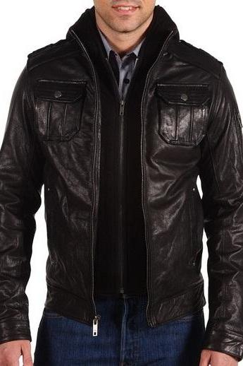 Men black fabric hooded leather jacket,men black real leather jacket,leather jacket men