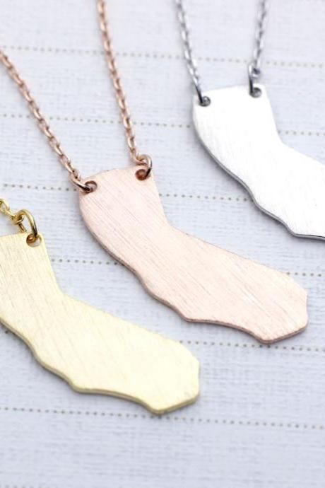 California (CA) necklace in gold / silver / pink gold