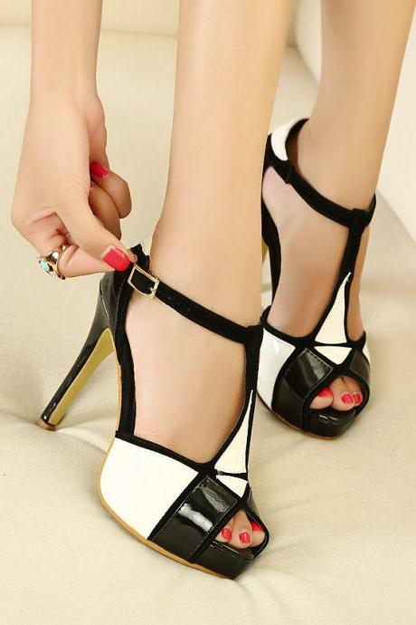 Mixed colors waterproof high-heeled shoes, sandals, T