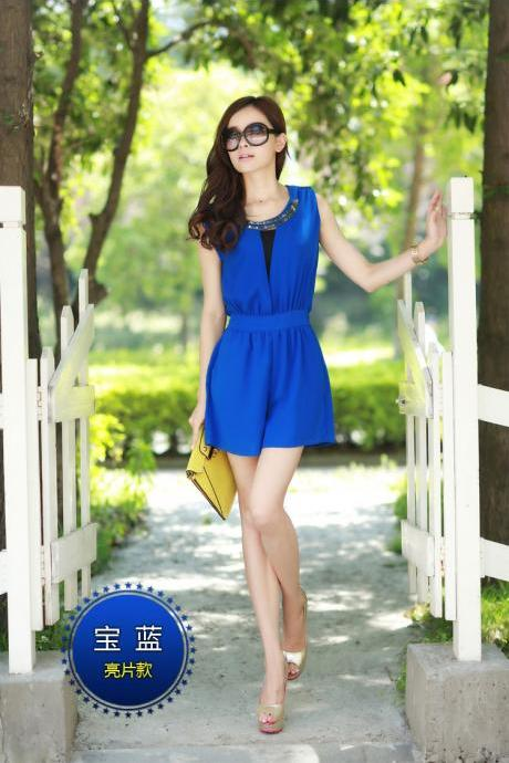 Blue Fashion Sexy Elegant Backless Block Rompers
