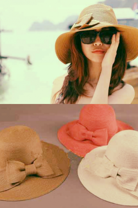 New Fashion Women's Foldable Wide Brim Floppy Summer Beach Straw Hat Sweet Butterfly Cap
