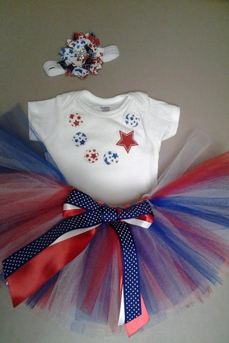 Sale! Fourth of July applique necklace outfit with matching shabby flower headband, Independence day, 4th of July set
