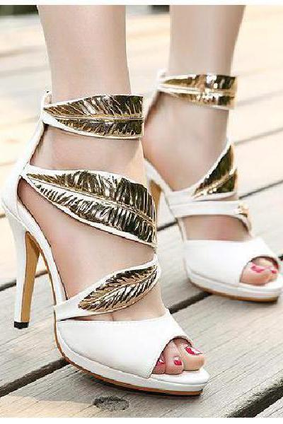 Fine with Roman style high-heeled sequined high-heeled sandals leaves