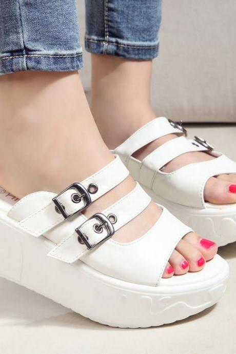 Thick-soled high-heeled platform shoes sandals and slippers women slippers sandals shoes slope with a font