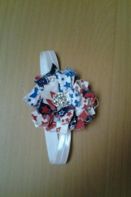 Fourth of July patriotic handmade shabby flower headband, Newborn baby child toddler adult headband