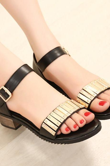 Roman -style word -style metal buckle low vamp with casual sandals