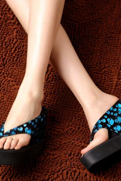 Skull slope with high-heeled waterproof slope with sandals and slippers women