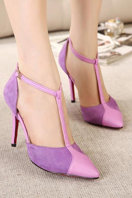 Spell color high-heeled glass with T -type buckle pointed high-heeled shoes