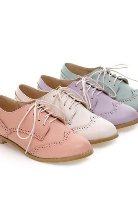 New Spring Oxford Shoes for Women Leather Women Sneakers Women Oxford Shoes Lace Up Oxfords / 1422108
