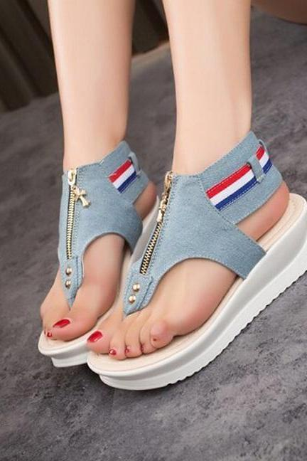 Summer thick Bottom sandals casual denim shoes SS05203SH
