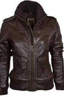 Women brown leather jacket, women real leather jacket with rib on bottom