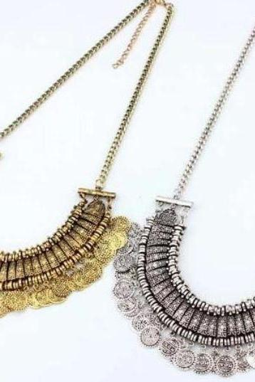 Coin Necklace Vintage Statement Coin Chain Gold/Silver Necklace