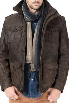 men leather jacket with front flap pockets, men brown leather jacket