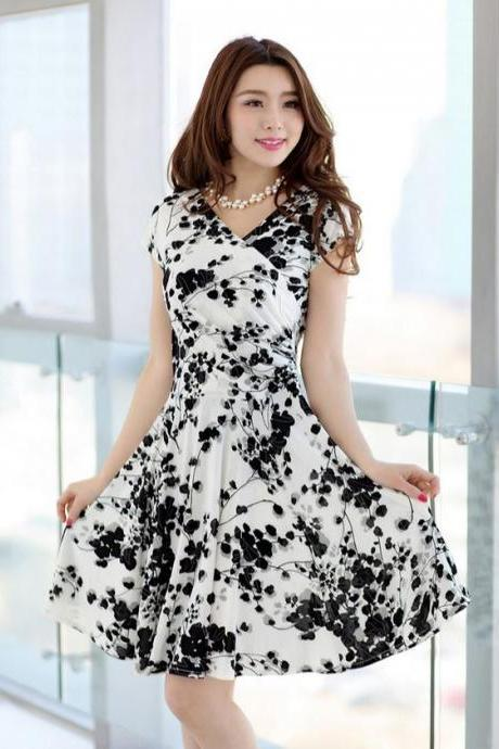 White Dress for Women Printed Floral Summer Spring Dresses Free Shipping