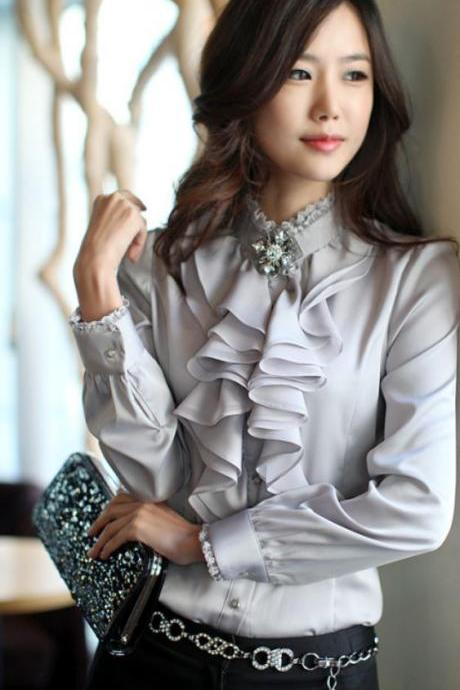 Gray Ruffle Front Lace Collar Top Shirt Blouse