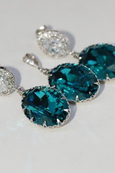 Earrings and Pendant Set (S362a) - CZ Earring with Swarovski Indicolite Oval Crystal (E362), Matching Oval Pendant (P035)