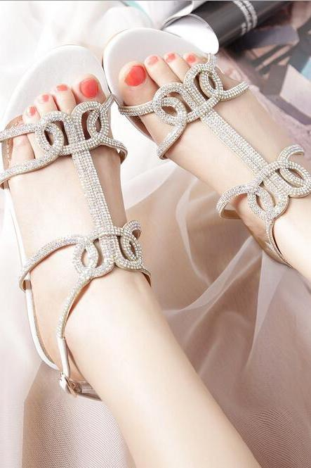 Stylish low-heeled sandals SS05231SH