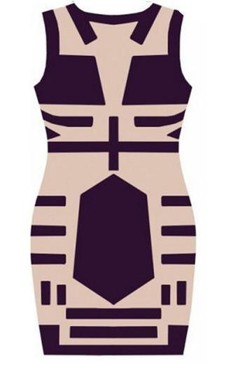 Women Celebrity Midi Bodycon Dress, Sleeveless Sexy Party Bandage Dress, See Through Club Print Dress Drop Shipping M7-31