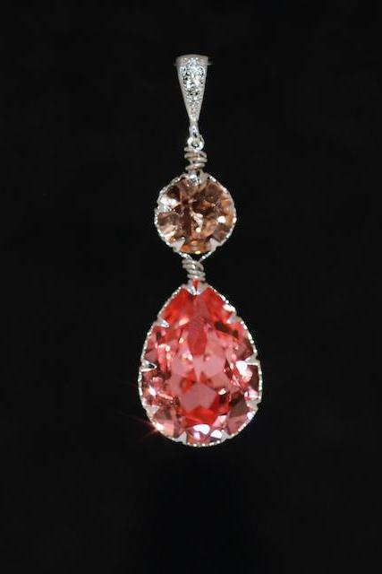 CZ Detailed Pendant with Swarovski Round Light Peach and Rose Peach Teardrop Crystals - Wedding Jewelry, Bridal Jewelery (P059)