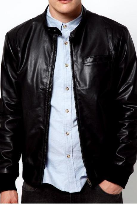 Handmade men black real leather jacket