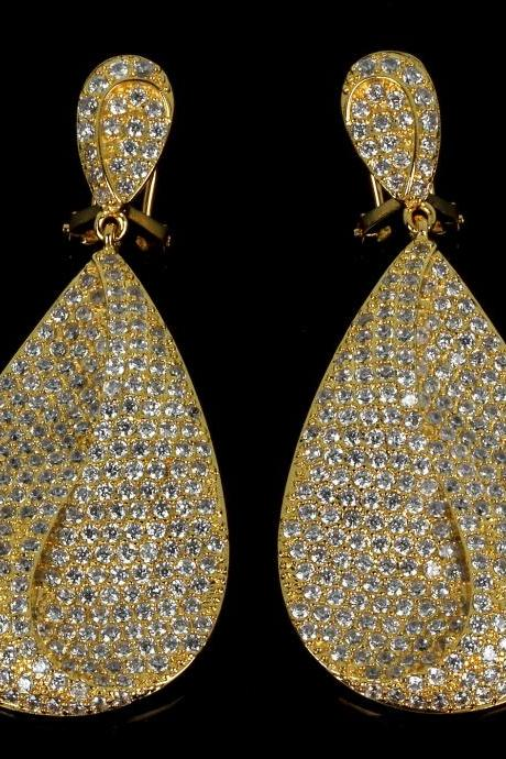 Gold leaf earrings Long zircon earrings Luxury Women Earrings Lead Free Brass 18K Gold Plated Long luxury earings