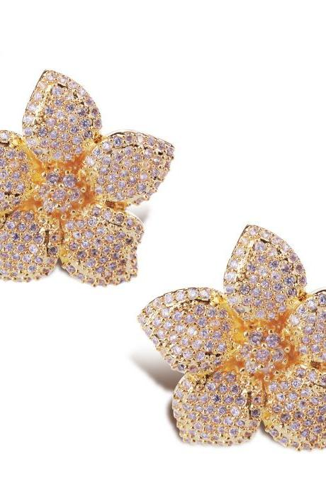 Flower earrings Lead Free Platium plated with top quality of Cubic Zircon Women Earrings Party Casual Free Shipping