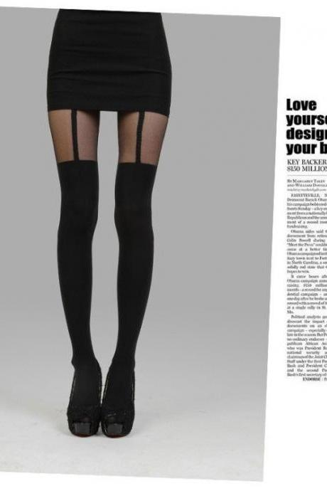 New Women Mock Suspender Tights, Elegant, Sexy, Soft And Comfortable Tights Highly Fashionable Stockings Patterned Pantyhose Y29