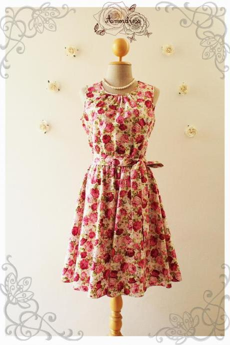 DARLING TEA DRESS : Floral Dress Sleeveless Dress Woodland Dress Floral Prom Dress Party Dress Floral Bridesmaid Dress- Size xs-xl, Custom