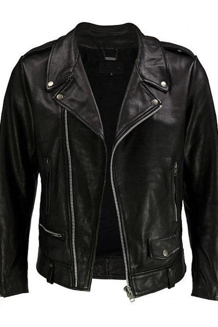 Black Premium Cow Hide Leather Moto Biker Jacket